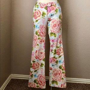 Vintage Romantic Floral Pattern Cotton Pants
